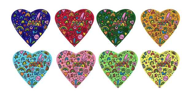 Multicolored hearts from abstract vector elements in a simple doodle style