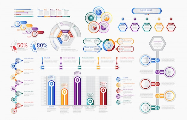 Multicolored infographic charts in set