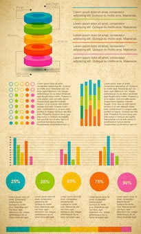 Multicolored infographic set with different types of graphs text and percentage ratio