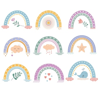 Multicolored isolated abstract rainbows with a pattern.