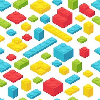 여러 가지 빛깔의 등거리 변환 플라스틱 벽돌.