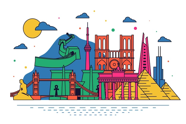 Multicolored landmarks skyline