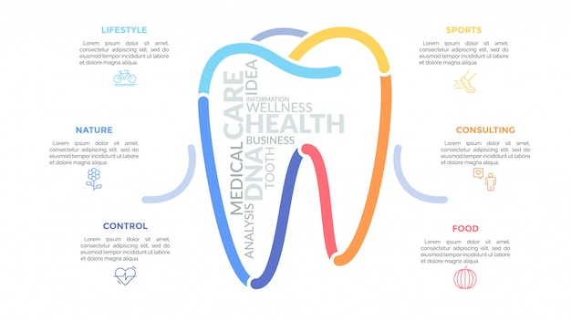 Multicolored lines forming tooth sign surrounded by linear icons and text boxes. concept of healthcare, dental health and medical service.