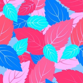 Разноцветные листья мяты бесшовные модели. цветочный фон.