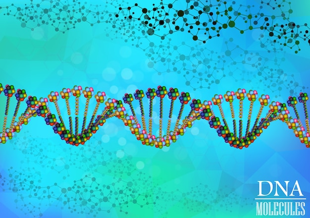 Multicolored molecule dna helix background