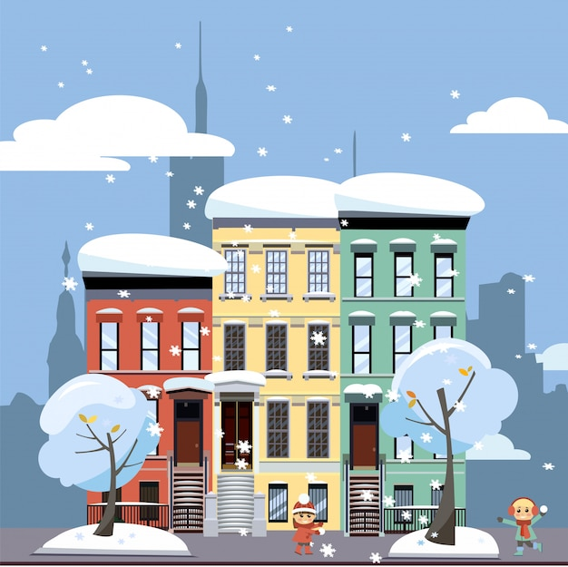 Multicolored multi-party cozy houses. winter city landscape. street cityscape with playing children.