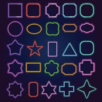 Multicolored neon border frames set
