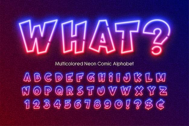 Multicolored neon light alphabet, extra glowing comic style type.