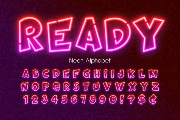 Multicolored neon light alphabet, extra glowing comic style type.