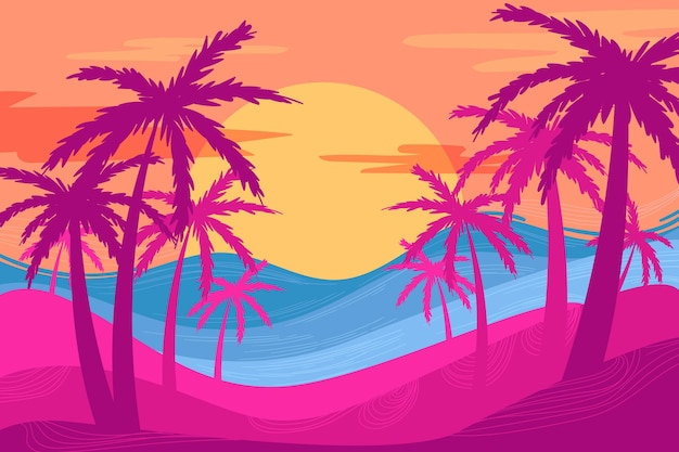 Multicolored palm silhouettes background