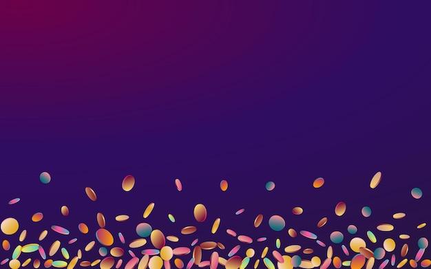 Multicolored polka carnaval purple background. rainbow top confetti invitation.