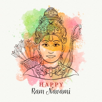 Multicolored ram navami with watercolor stains