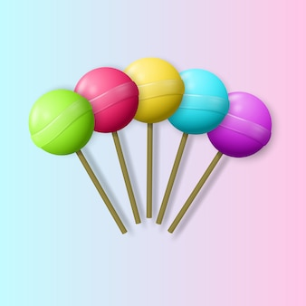 Multicolored realistic lollipops.