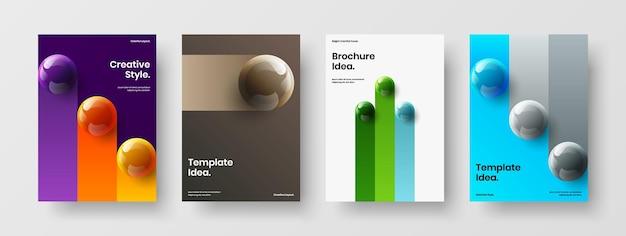 Коллекция шаблонов корпоративной брошюры разноцветных реалистичных сфер