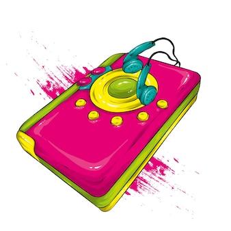 여러 가지 빛깔의 복고풍 오디오 플레이어