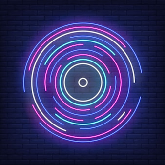 Multicolored round lines in neon style