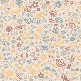 꽃의 여러 원활한 패턴, 잎, 별, 나비와 하트