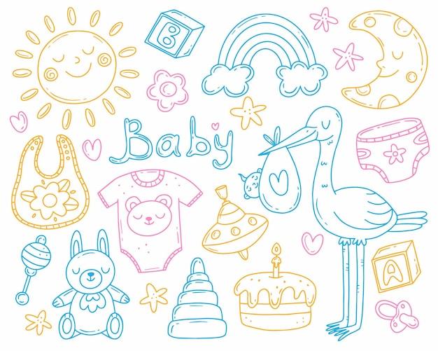 간단한 귀여운 낙서 스타일로 아이의 탄생을 주제로 한 여러 가지 빛깔의 세트