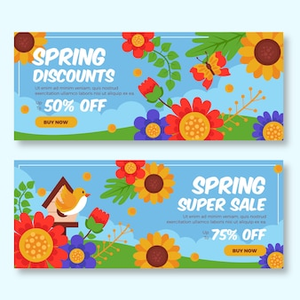 Multicolored spring sale banners