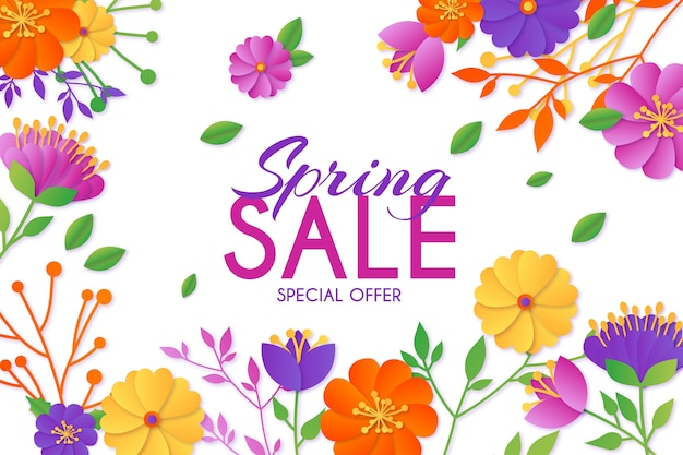 Multicolored spring sale in paper style