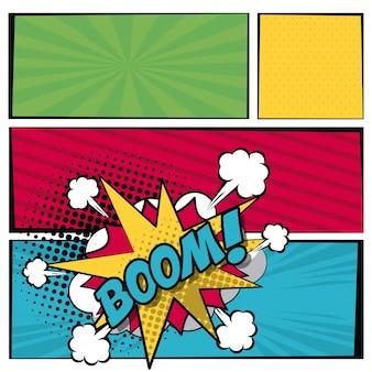 Multicolored square banner and scream dialog callout boom text