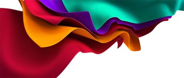 Разноцветная струящаяся ткань. абстрактный фон. 3d иллюстрации. волнистый многослойный текстиль. струящаяся шелковистая ткань.