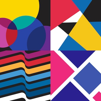 Multicolored swiss graphic illustration set