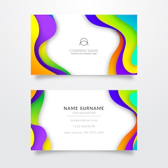 Multicolored template for business card