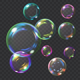 Разноцветные прозрачные мыльные пузыри с бликами. прозрачность только в векторном формате. может использоваться с любым фоном
