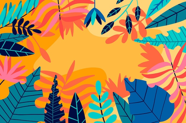 Разноцветные тропические листья фон