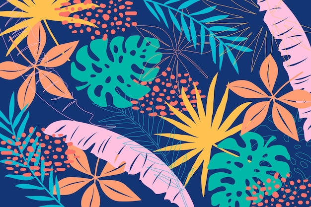 Multicolored tropical leaves background