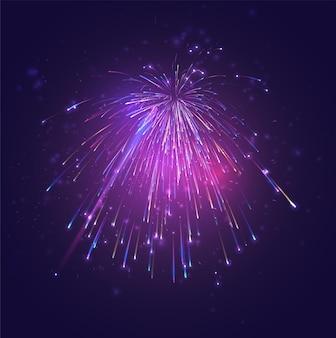 色とりどりのベクトル花火、空の喜びの爆発