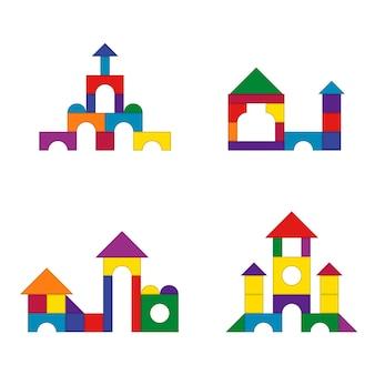 여러 가지 빛깔의 나무 아이 블록 장난감 세부 정보 건물 키트 세트.