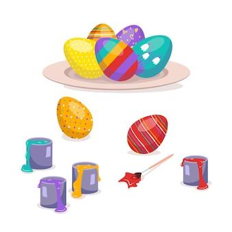パターンのある色とりどりのイースターエッグは、皿の上とブラシと絵の具の横にあります。幸せなキリスト教の宗教的な休日と伝統。春のお祭りの装飾。ベクトルイラスト