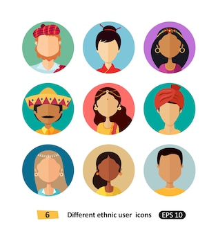 Multicultural avatars national ethnic people flat icons set