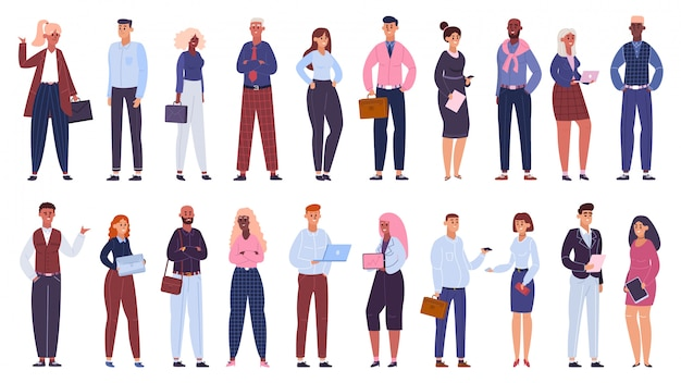 Multicultural business group. people office workers team, multinational business colleagues characters community   illustration set. multicultural business team, businessman and women