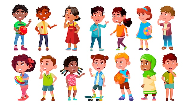 Multicultural characters children kids