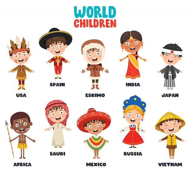 Multicultural characters of the world