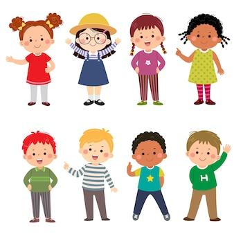 고립 된 다른 위치에 다문화 어린이