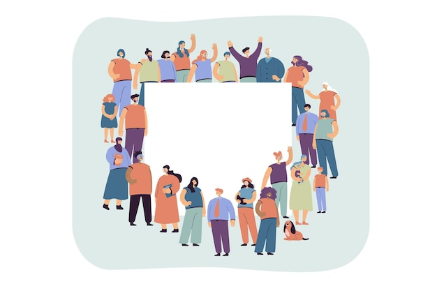 Multicultural crowd of people standing around blank banner flat illustration.