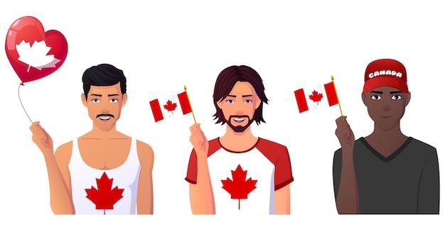 カナダの旗を持ち、カナダの日を祝う多文化の男性グループ。