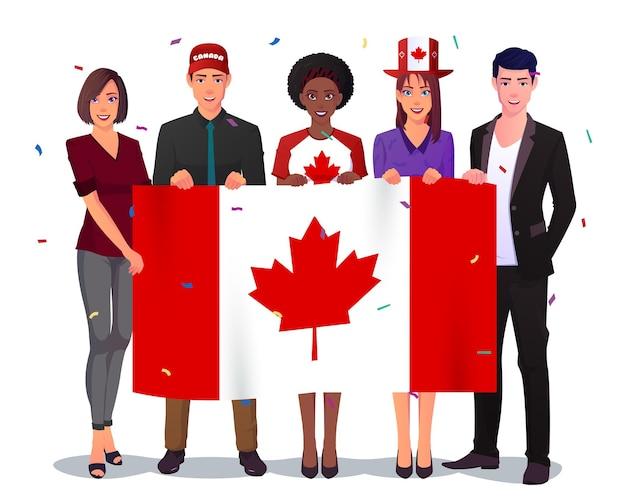 カナダ国旗を掲げる多文化グループ。