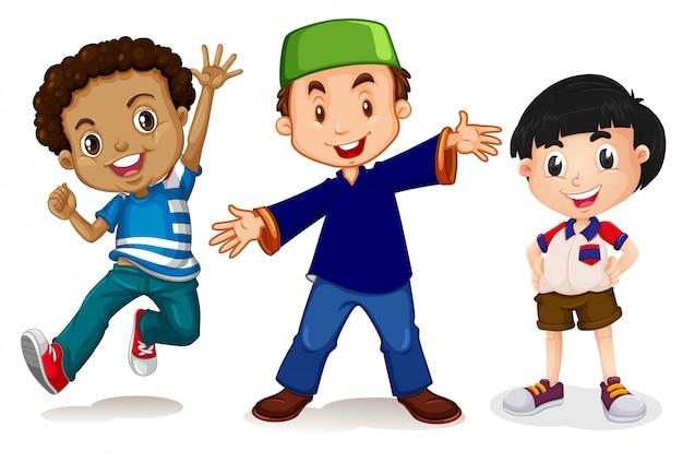 白背景の多文化の子供たち