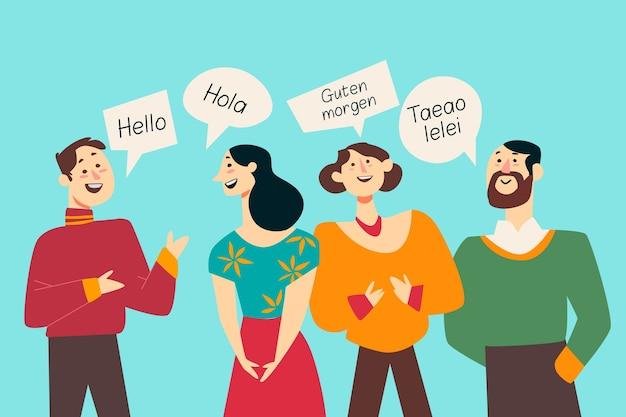 Multicultural people illustration flat design