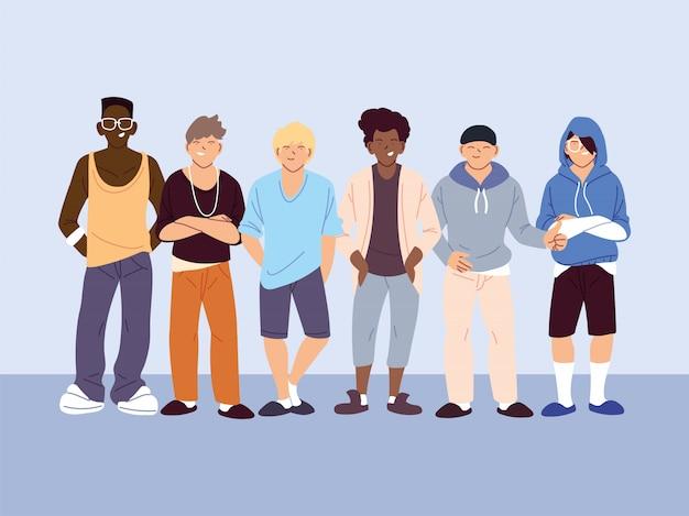 多文化の人々、カジュアルな服装の異なる男性