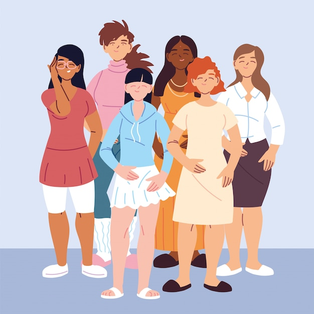 多文化の人々、カジュアルな服装の異なる女性