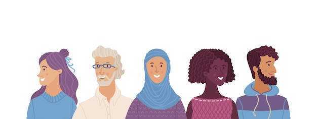 Multicultural smiling adult men and women standing together