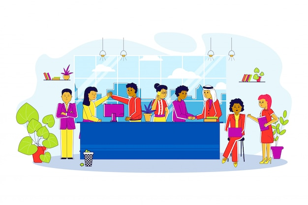 Multicultural team in office line,   illustration. business meeting, employee communication near large table. people man
