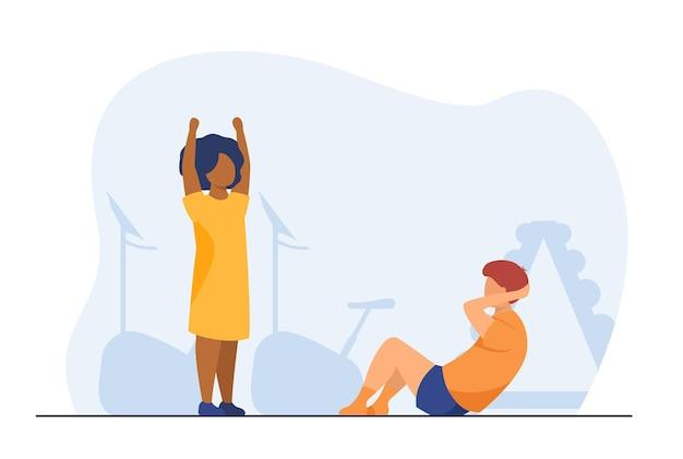 체육관에서 운동하는 다민족 어린이. 신체 훈련, 스포츠 활동, 어린이를위한 피트니스. 만화 그림
