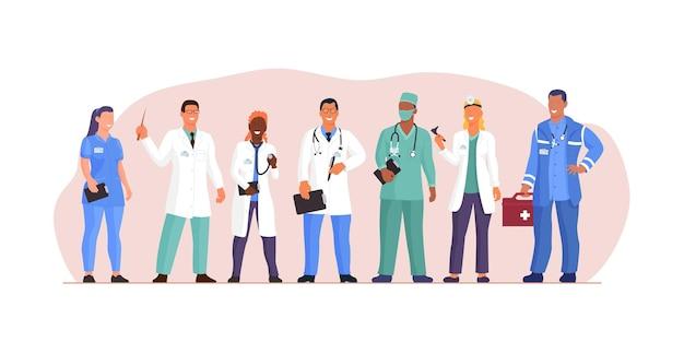 Многонациональный разнообразный портрет медицинского персонала команды врачей. многонациональная группа врачей, медсестер и хирургов в униформе, стоящая вместе, демонстрирует сотрудничество медиков и командную работу, векторная иллюстрация